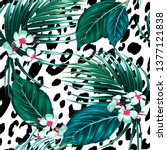 tropical floral vector seamless ... | Shutterstock .eps vector #1377121838