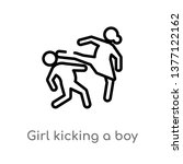 girl kicking a boy in the face... | Shutterstock .eps vector #1377122162