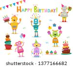 Cute Birthday Robot Characters...