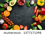 fresh fruits  vegetables and... | Shutterstock . vector #1377171398