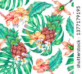 floral tropical summer vector... | Shutterstock .eps vector #1377179195