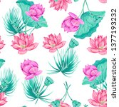pink lotus  tropical flowers ... | Shutterstock .eps vector #1377193232