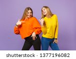two smiling young blonde twins...   Shutterstock . vector #1377196082