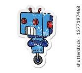 distressed sticker of a cartoon ...   Shutterstock . vector #1377197468