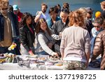 scene from weekend flea market. ... | Shutterstock . vector #1377198725