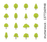 green trees set. flat style.... | Shutterstock .eps vector #1377260948