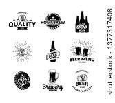 vector set of vintage brewery... | Shutterstock .eps vector #1377317408