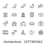 Stock vector pet shop flat line icons set dog carrier cat scratcher bird cage rabbit fish aquarium pets 1377381062