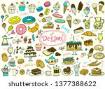 set of colorful doodle sweets...   Shutterstock .eps vector #1377388622