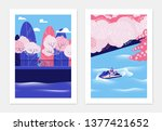 spring landscape poster design  ... | Shutterstock .eps vector #1377421652
