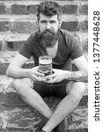hipster with long beard looks... | Shutterstock . vector #1377448628