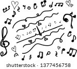 hand drawn music symbol with... | Shutterstock .eps vector #1377456758