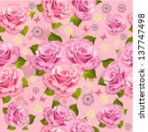flower texture with roses... | Shutterstock .eps vector #137747498