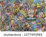 cool music graffiti in urban... | Shutterstock .eps vector #1377493985