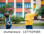 happy two brother kids playing... | Shutterstock . vector #1377529385