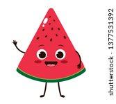 cute cartoon watermelon slice...   Shutterstock .eps vector #1377531392