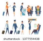 airplane passengers. stewardess ... | Shutterstock .eps vector #1377554438
