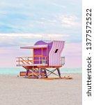 Small photo of Pink art deco lifeguard stand on Miami South Beach, life guard tower, coastal landmark