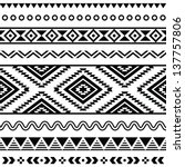 Tribal seamless pattern - aztec black signs on white background
