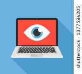 laptop and eye icon. internet... | Shutterstock .eps vector #1377586205
