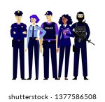 group of policemen characters... | Shutterstock .eps vector #1377586508
