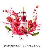 realistic pomegranate juice... | Shutterstock .eps vector #1377625772