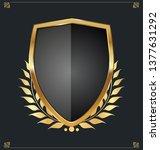 golden shield and laurel wreath ... | Shutterstock .eps vector #1377631292