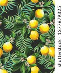 seamless citrus pattern with...   Shutterstock .eps vector #1377679325