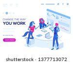 landing page template. 3d... | Shutterstock .eps vector #1377713072