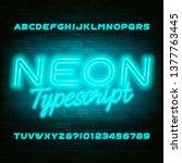 light blue neon alphabet font.... | Shutterstock .eps vector #1377763445