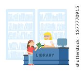 child in school library flat... | Shutterstock .eps vector #1377770915
