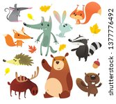 cartoon forest animals. funny... | Shutterstock .eps vector #1377776492