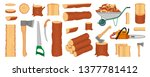 Set of wood logs, trunks, stump and planks. Woodcutter or lumberjack tools. Forestry. Firewood logs. Tree wood trunk. Wood bark and tree log. Firewood and crust. Firewood for sale. Vector graphics - stock vector
