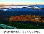 beautiful dawn in the mountain... | Shutterstock . vector #1377784988