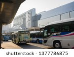 Small photo of Kyoto, Japan - March 28, 2018: The morning at the bus stop in front of Kyoto station where tourists also use. Many buses come and go.