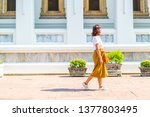 happy asian woman travel at... | Shutterstock . vector #1377803495