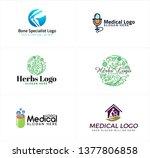 green blue line art badge logo... | Shutterstock .eps vector #1377806858