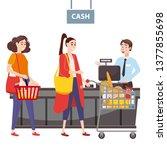 cashier behind the cashier... | Shutterstock .eps vector #1377855698