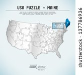 usa map puzzle   one state one... | Shutterstock .eps vector #137786936