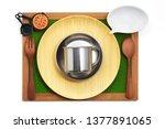 Design concept of mockup cookingware utensils on fake grass board