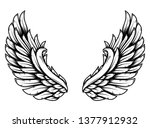 wings in tattoo style isolated... | Shutterstock .eps vector #1377912932