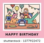 birthday party photo concept.... | Shutterstock .eps vector #1377922472