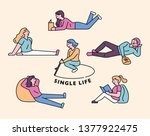 a single life woman who lays...   Shutterstock .eps vector #1377922475