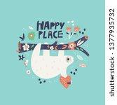 sloth flat hand drawn...   Shutterstock .eps vector #1377935732