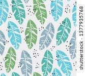 palm leaves flat handdrawn...   Shutterstock .eps vector #1377935768