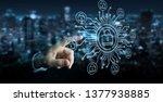 businessman on blurred... | Shutterstock . vector #1377938885