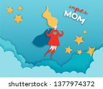 mothers day greeting card in... | Shutterstock .eps vector #1377974372