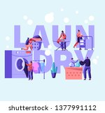 laundry concept poster with... | Shutterstock .eps vector #1377991112