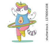 cute unicorn cat with rainbow... | Shutterstock .eps vector #1378004108