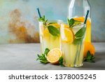 two glass with lemonade or... | Shutterstock . vector #1378005245